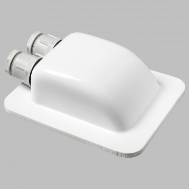 Roof grommet white, waterproof with two cable inputs for solar cable