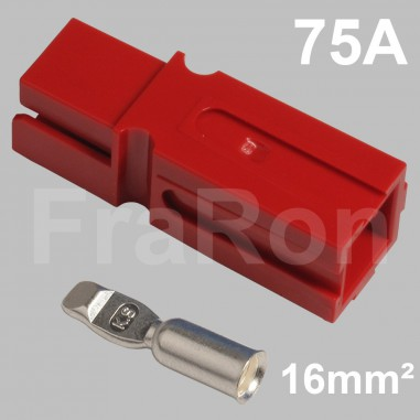 75 Amp single pole housing, red, Set incl. terminal for AWG6 / 16mm²
